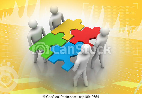 3d people - team with the puzzles i - csp18919654