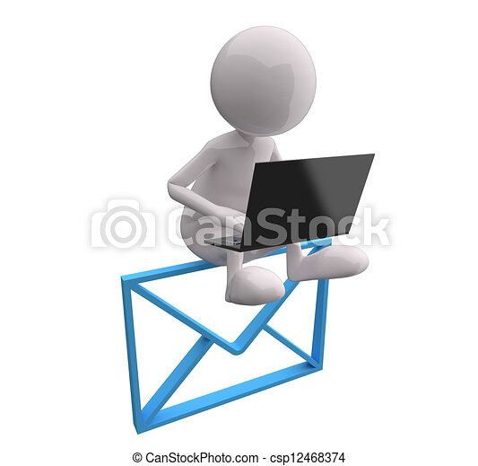 3D People with Blue Mail and Laptop - csp12468374