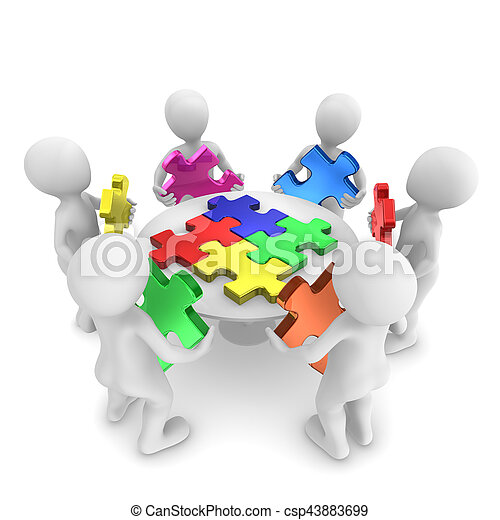 3d People With Jigsaw Puzzle Teamwork Concept People With Jigsaw