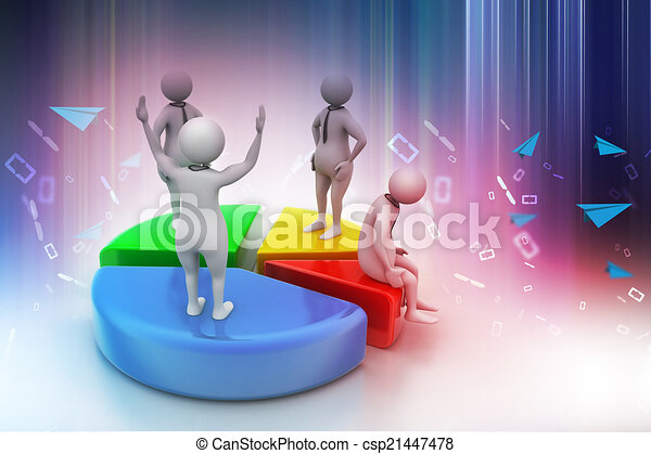 3d people with pie chart,  business competition - csp21447478
