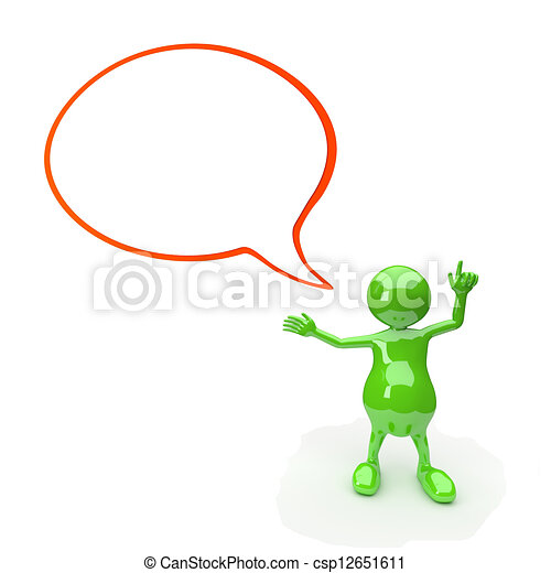 3D People with text bubble blank - csp12651611