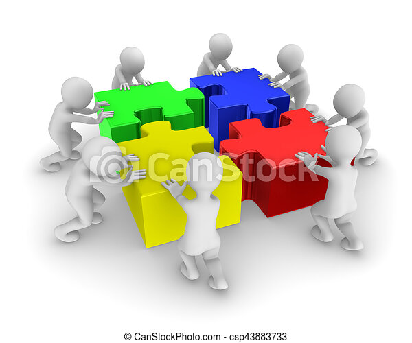 3d People Working As A Team With Colored Jigsaw Puzzle