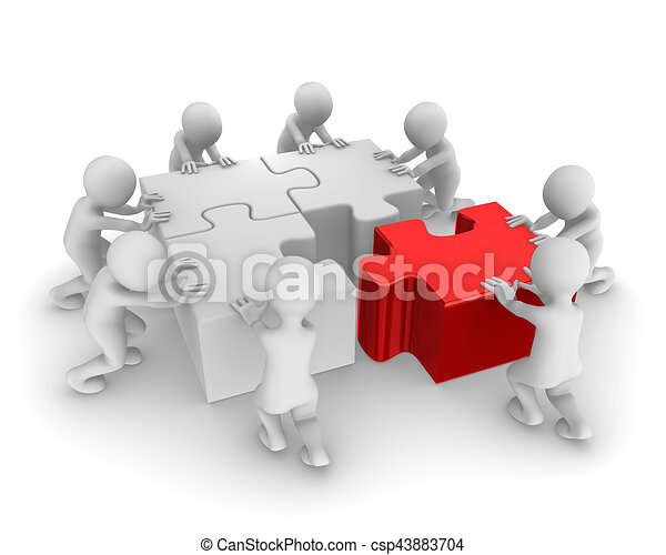 3d People Working As A Team With Jigsaw Puzzle Rendered Illustration