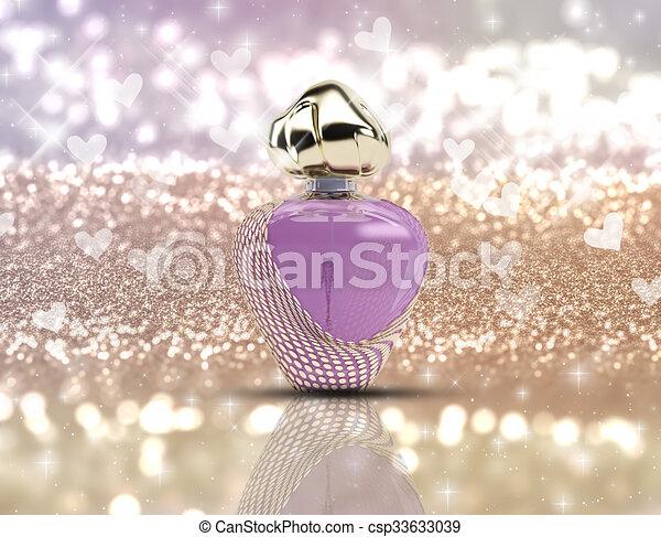 3D perfume bottle on glitter background - csp33633039