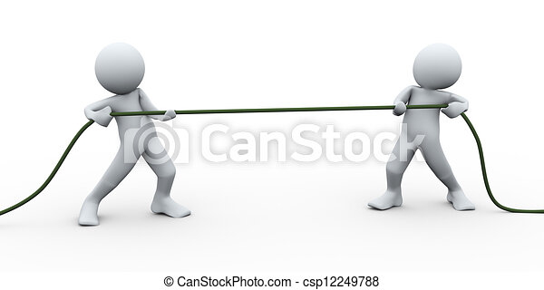 3d perople pulling rope - csp12249788