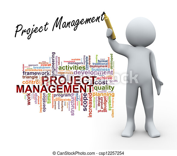 3d person and project management word tags - csp12257254