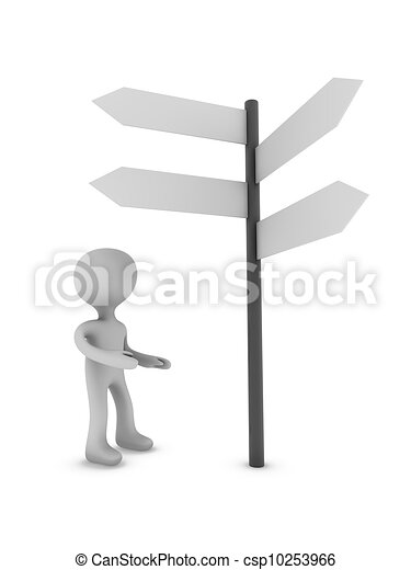 3d person and signboard - csp10253966