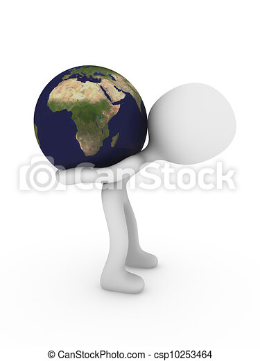3d person carry world globe - csp10253464