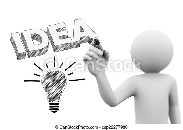 3d Person Drawing Idea Word And Bulb