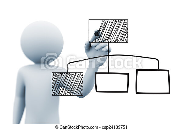 3d person drawing organzational chart - csp24133751