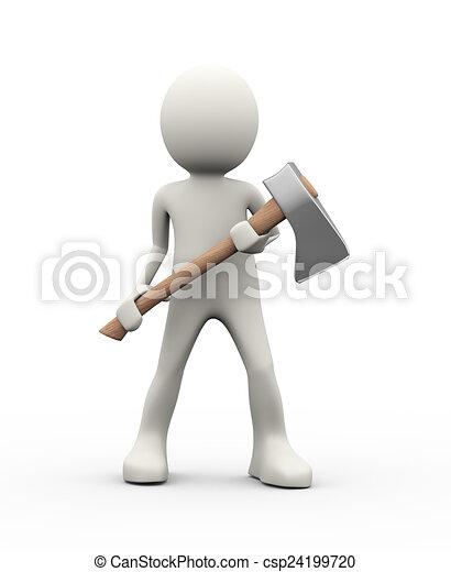 3d person holding axe - csp24199720