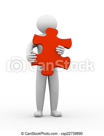 3d person holding puzzle - csp22739890