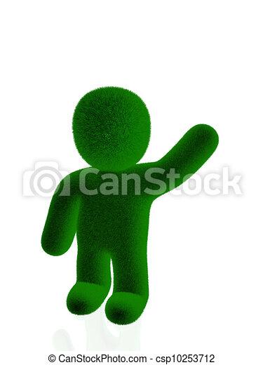 3d person made of grass - csp10253712