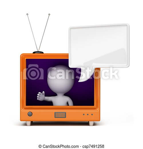 3d person on TV - csp7491258
