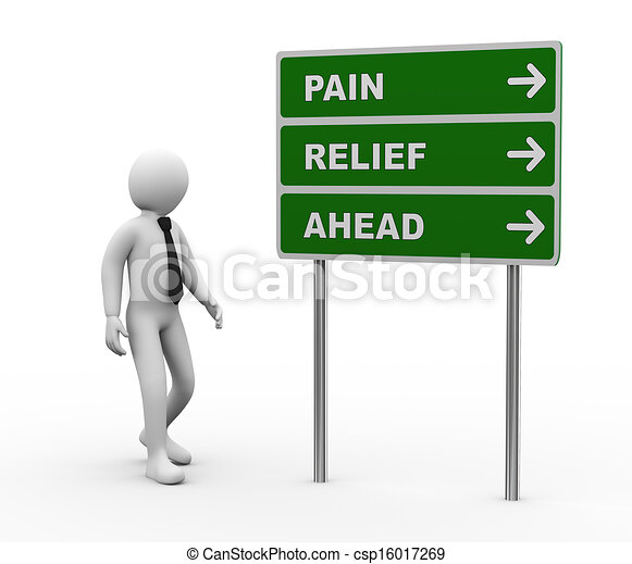3d person pain relief ahead roadsign - csp16017269