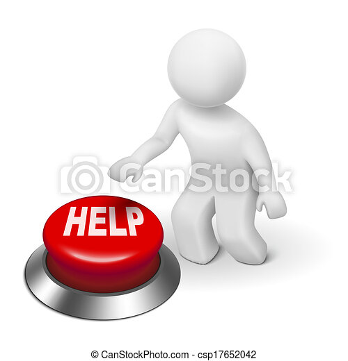 3d person pressing red the button help - csp17652042