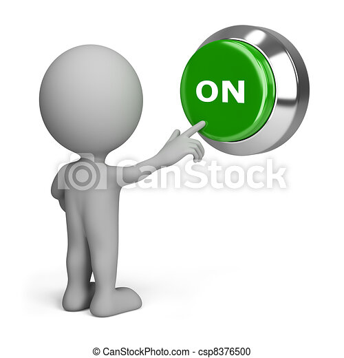 3d person pressing the button on - csp8376500