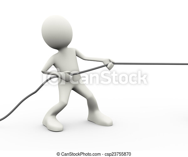 3d person pulling a rope - csp23755870