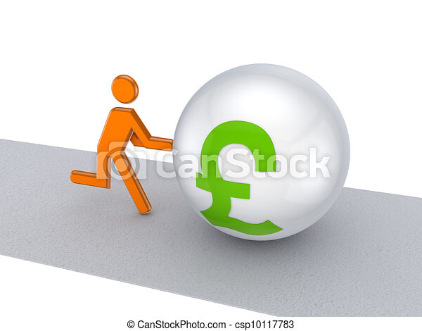 3d person pushing pound sterling symbol on a road. - csp10117783