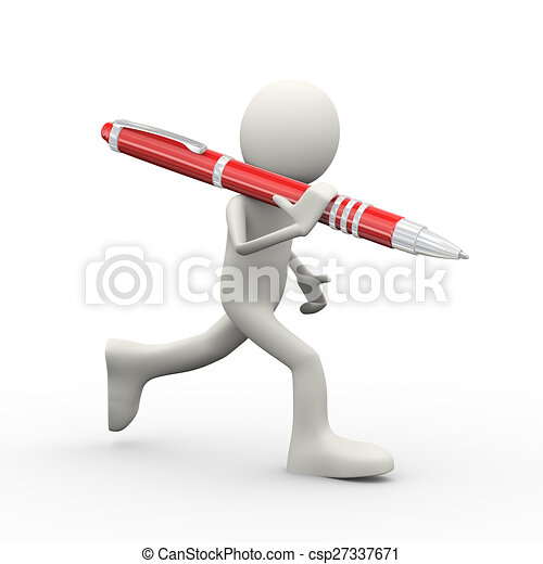 3d person running with pen - csp27337671