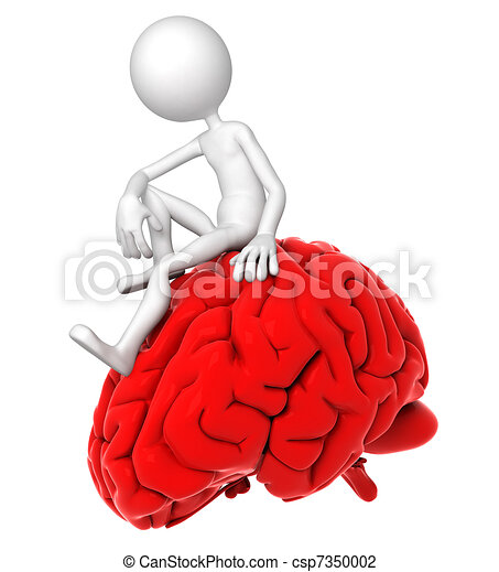 3d person sitting on red brain in a thoughtful pose - csp7350002