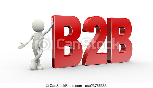 3d person standing with b2b busines - csp23756383