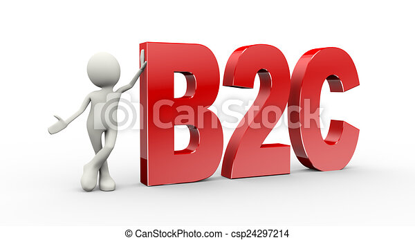 3d person standing with b2c business to consumer - csp24297214
