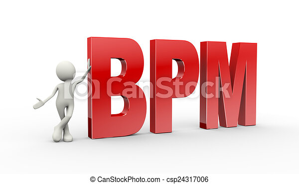 3d person standing with bpm business process management - csp24317006