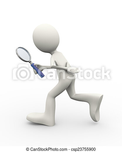 3d person walking with magnifier - csp23755900