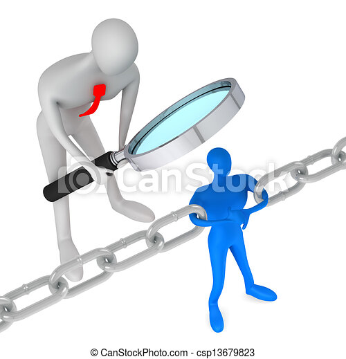 3d person watching 3d man holding a chain together  - csp13679823