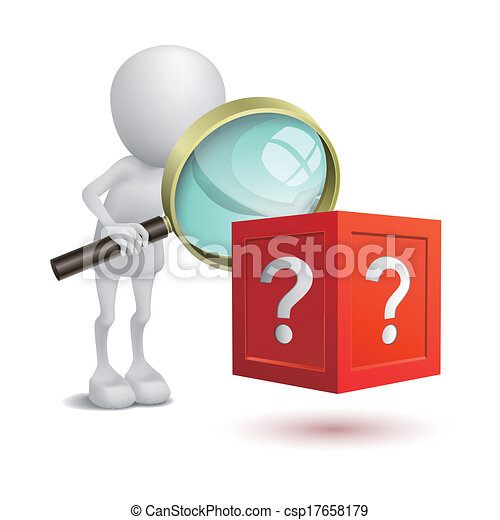3d person watching the question box with a magnifying glass - csp17658179