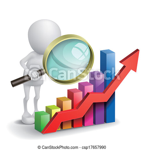 3d person with a graph financial and a magnifier - csp17657990