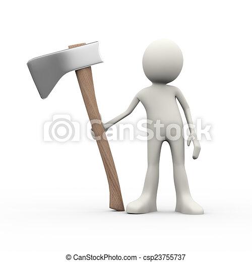 3d person with axe - csp23755737