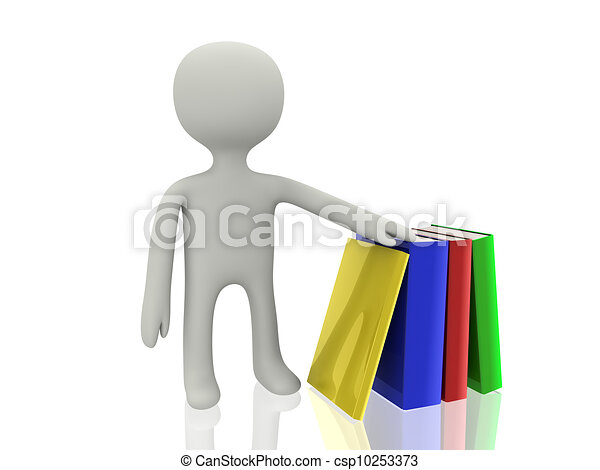 3d person with books  - csp10253373