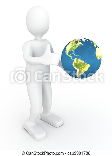 3d person with globe - csp3301786