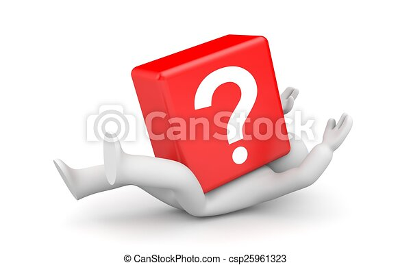 3d person with heavy red question mark - csp25961323