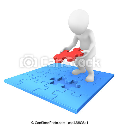 3d Person With Jigsaw Puzzle Piece