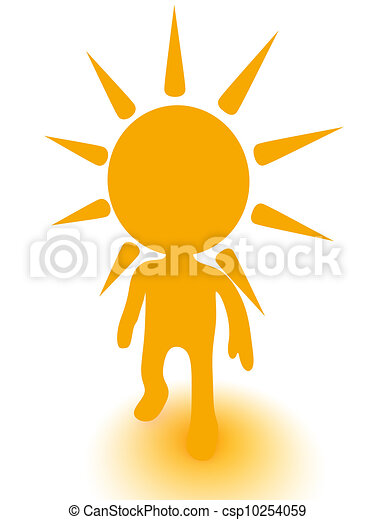 3d person with sun on head - csp10254059