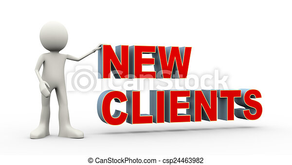 3d person with text new clients - csp24463982