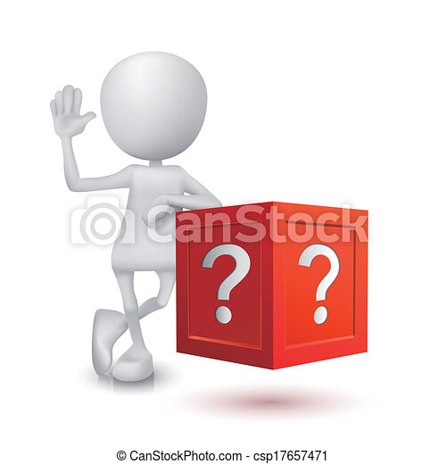 3d person with the question box - csp17657471