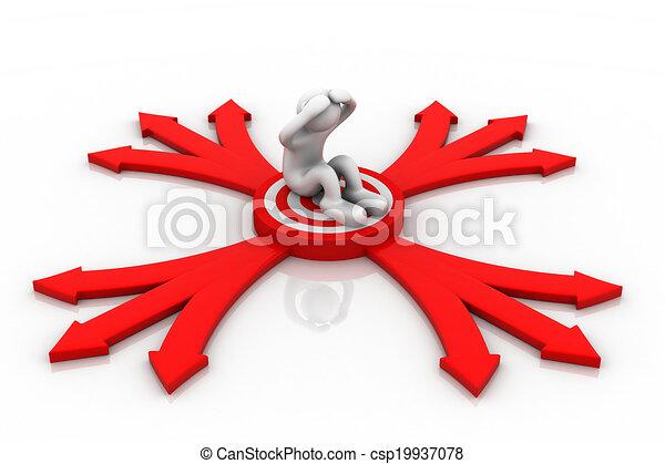 Persona 3D sentada en un blanco y flechas. - csp19937078