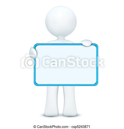 3d, personagem, tábua, segurando, em branco - csp5243871