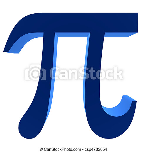 3d Pi Symbol 3d Blue Pi Symbol On A White Background