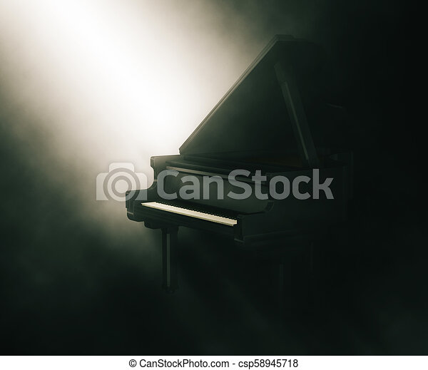 3D piano under moody lighting - csp58945718
