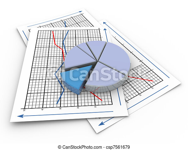 3d Pie Chart On Graph Paper 3d Render Of Pie Chart On A Paper Sheet
