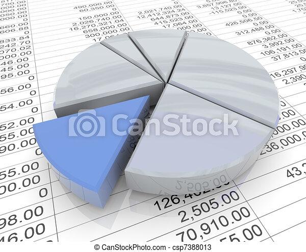 3d pie chart on sheet - csp7388013