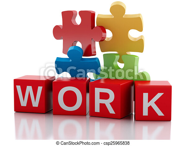 3d pieces of puzzle. Work concept - csp25965838