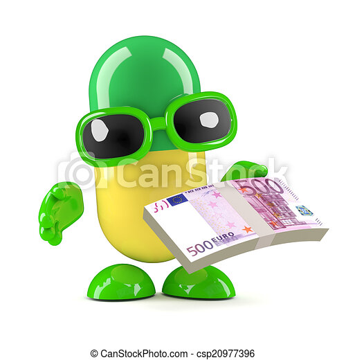 3d Pill holding Euro currency notes - csp20977396