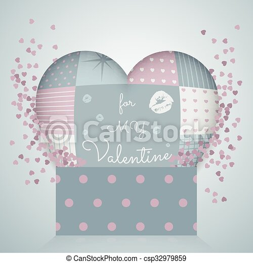 3D pillow in shape of a heart with patchwork, 3d pattern gift box.  Valentine's day. - csp32979859