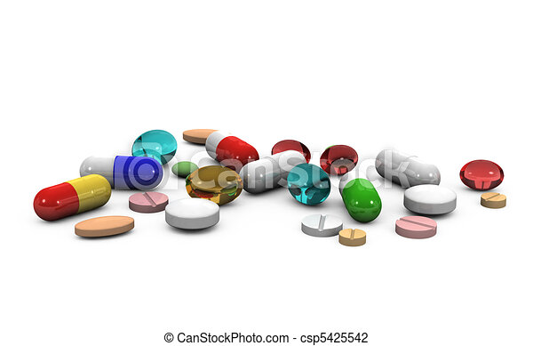 3d pills on a white background - csp5425542